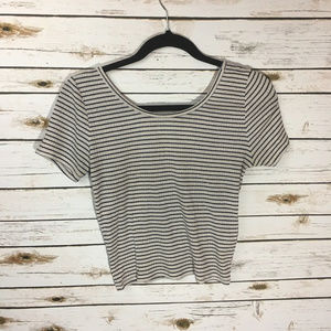 Hollister Black and White Striped Crop Top